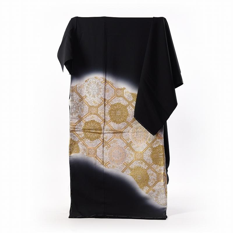 黒留袖 手縫いお仕立てと五つ紋入れ付き 縫い取り刺繍 蜀江文様 身長167cm位まで、裄68.5cmまで フォーマル 礼装 送料無料