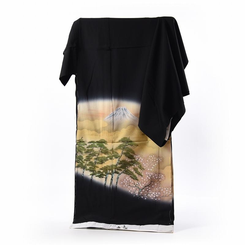 黒留袖 手縫いお仕立てと五つ紋入れ付き 近代日本画「横山大観」画 富士に松と桜の風景 身長168cm位まで、裄69.5cmまで フォーマル 礼装 送料無料