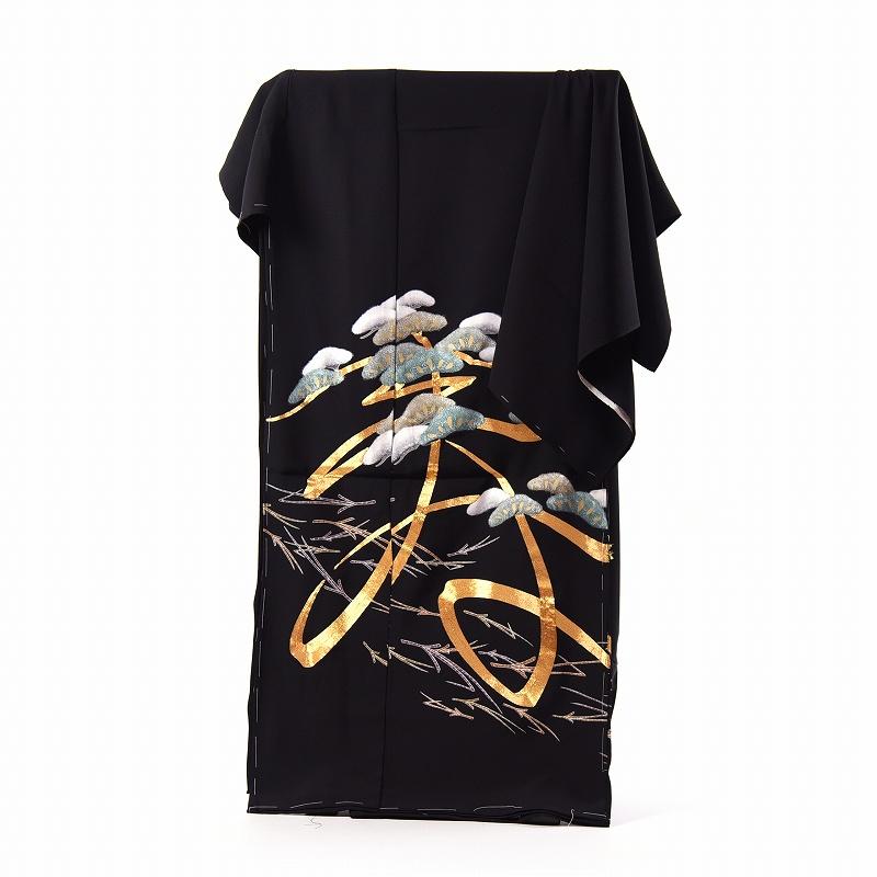 黒留袖 手縫いお仕立てと五つ紋入れ付き 金駒刺繍の寿文字に松竹梅 身長167cm位まで、裄68.5cmまで フォーマル 礼装 送料無料