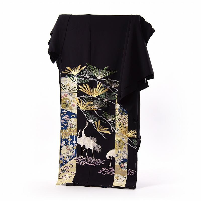 黒留袖 手縫いお仕立てと五つ紋入れ付き 短冊に鶴や松 身長167cm位まで、裄68.5cmまで フォーマル 礼装 送料無料