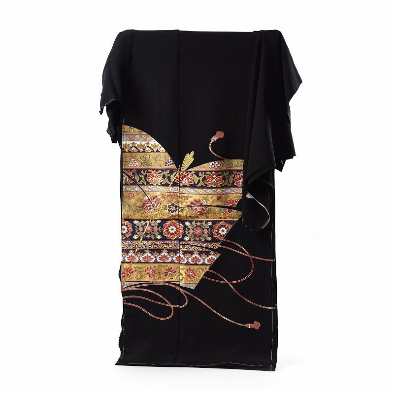 黒留袖 手縫いお仕立てと五つ紋入れ付き 唐花文様 身長167cm位まで、裄68.5cmまで フォーマル 礼装 送料無料