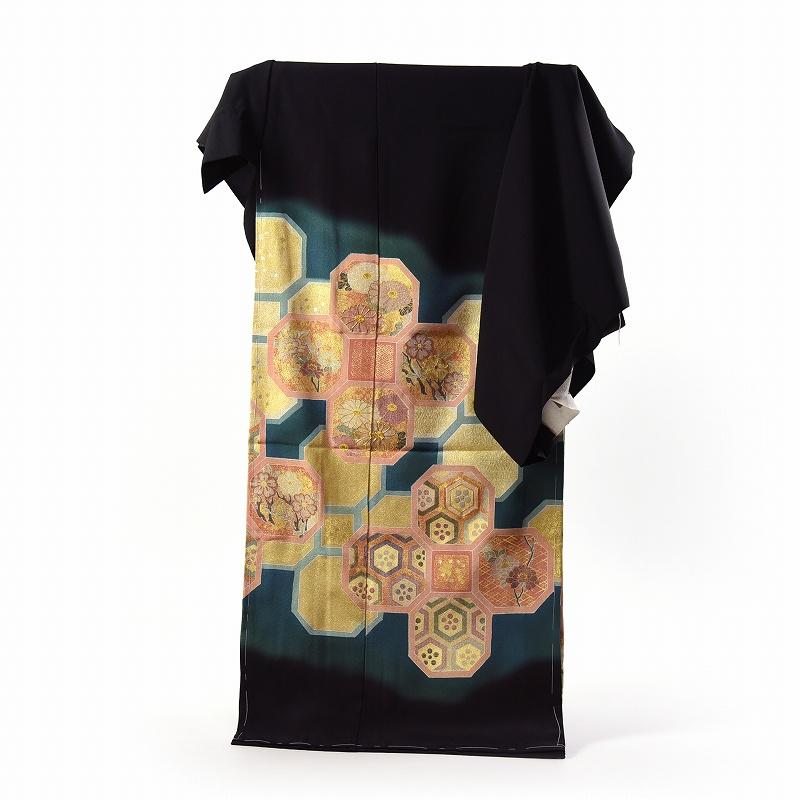 黒留袖 フルオーダー手縫いお仕立てと五つ紋入れ付き 京友禅作家 松井青々氏作 蜀江 身長168cmまで、裄69cmまで 送料無料