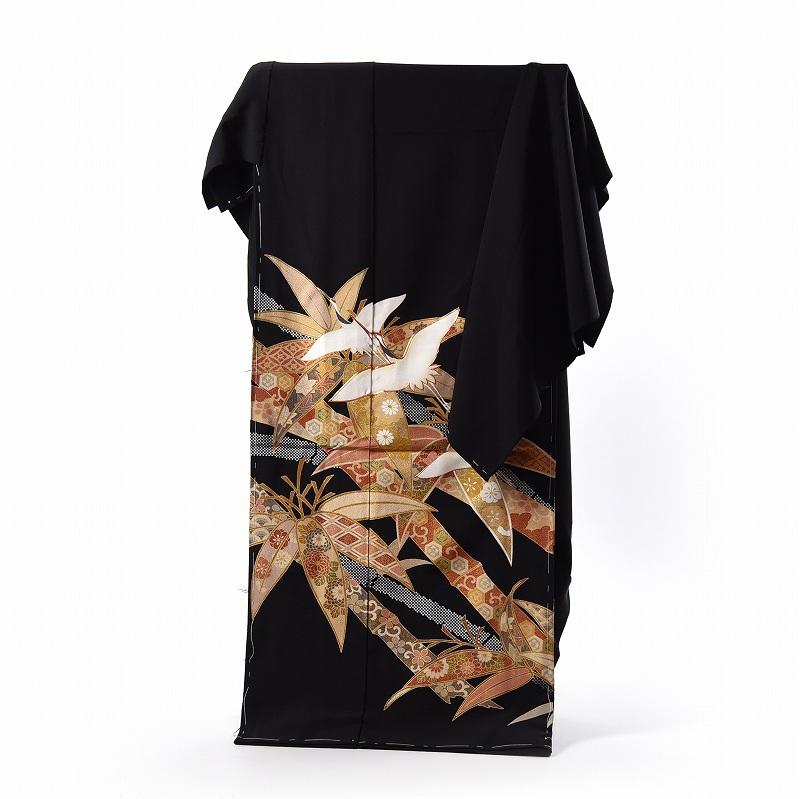 黒留袖 フルオーダー手縫いお仕立て付き♪正絹 日本の絹浜ちりめん 手描き加工物 舞い鶴に竹文様(金駒刺繍入り) 結婚式・披露宴【送料無料】