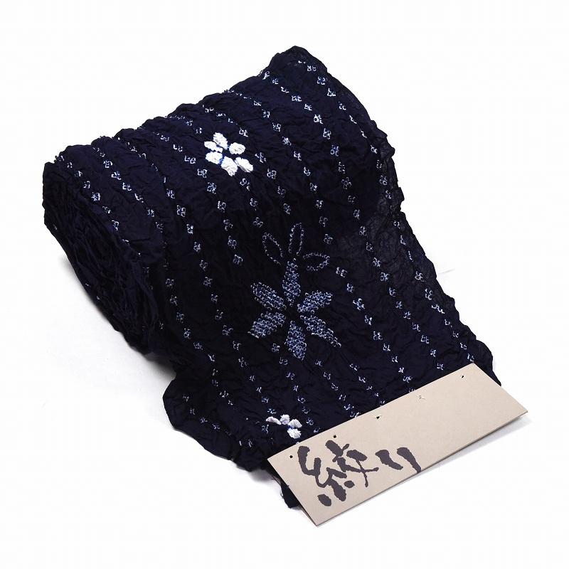 有松鳴海絞り 絞り浴衣 小花の縞 紺色 反物販売 お仕立て承ります 夏祭りや花火大会に 女性もの レディース 有松絞り 送料無料