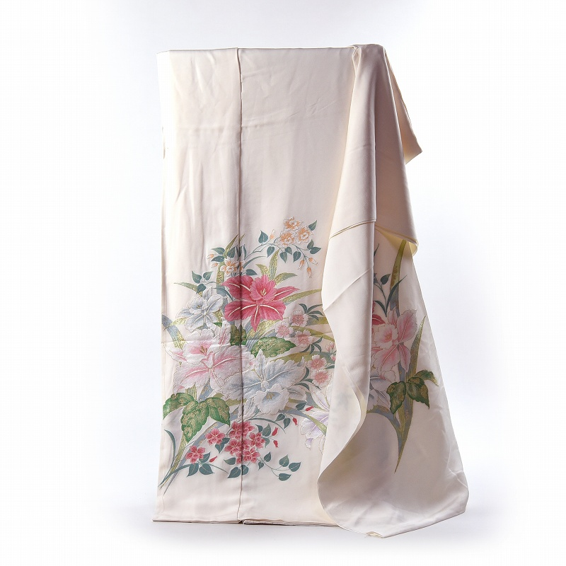 寿光織 最高峰縫取刺繍 訪問着/留袖/振袖 愛のつどい 生成り色 手縫いお仕立て付き 染め替え付き 【裄67.5cm位まで】