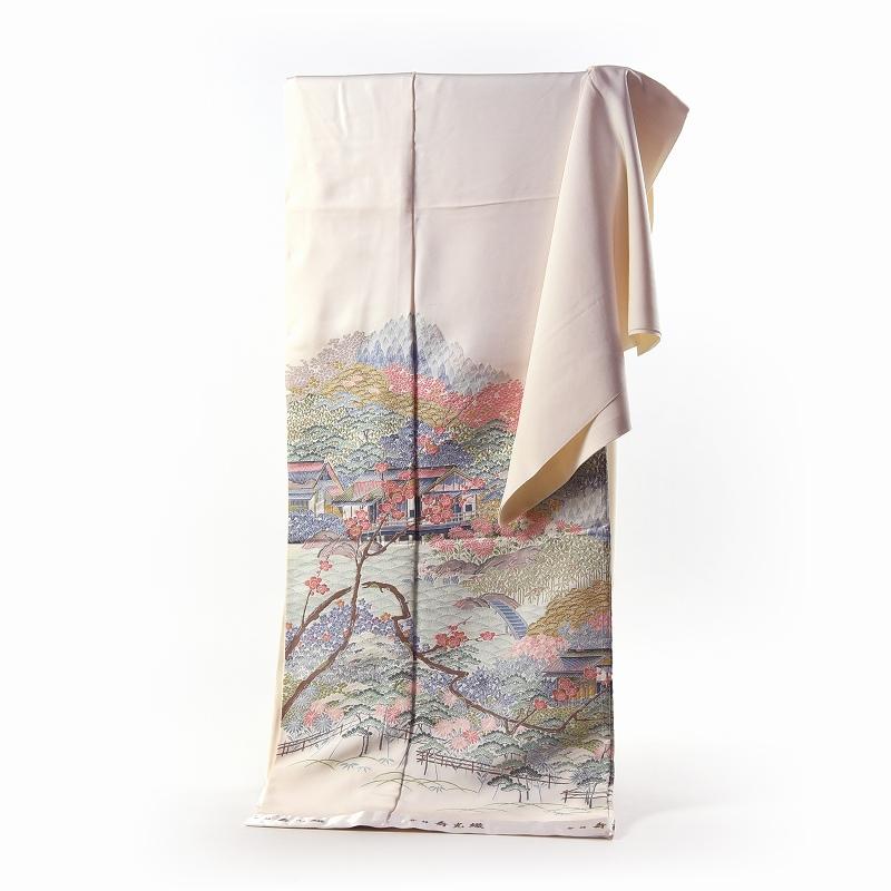 寿光織 最高峰縫取刺繍 訪問着/留袖 兼六園 生成り色 手縫いお仕立て付き 染め替え付き 【裄67cm位まで】