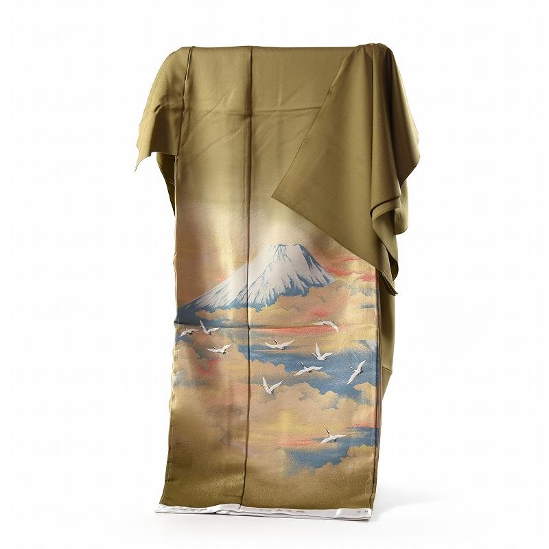 寿光織 最高峰縫取刺繍 訪問着/色留袖 富士の図 芥子色 手縫いお仕立て付き 【裄66.5cm位まで】
