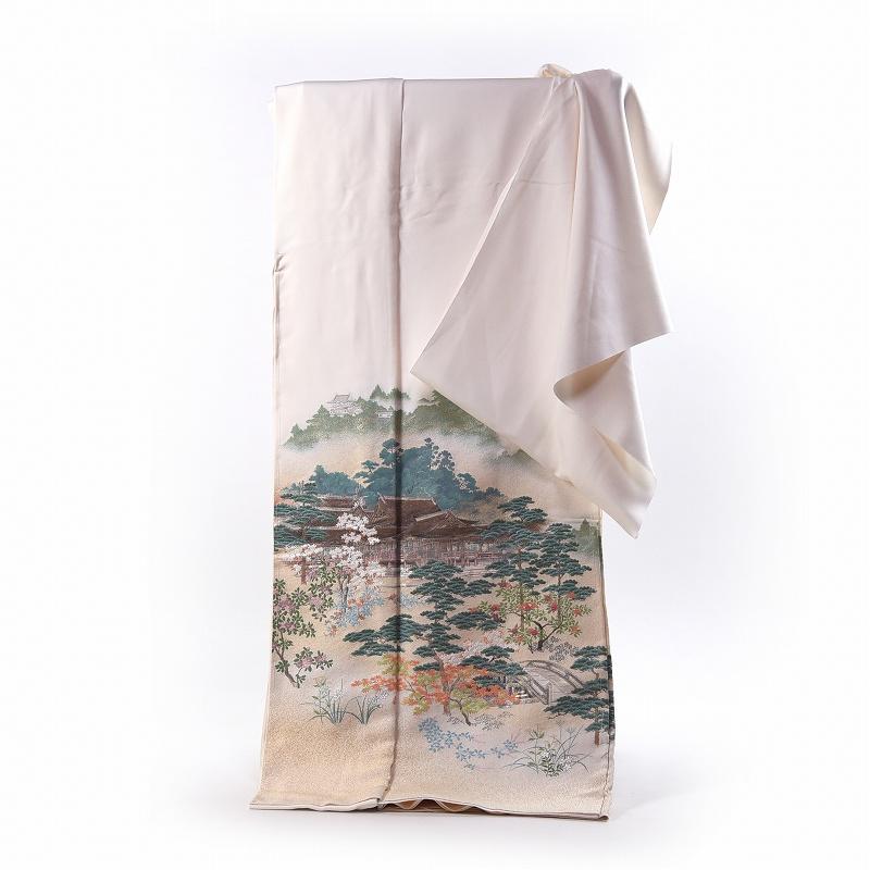 寿光織 最高峰縫取刺繍 訪問着/留袖 多賀大社 生成り色 手縫いお仕立て付き 染め替え付き 【裄68.5cm位まで】
