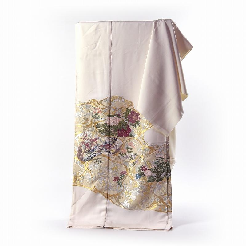 寿光織 最高峰縫取刺繍 訪問着/留袖 琳派彩映 生成り色 手縫いお仕立て付き 染め替え付き 【裄66.5cm位まで】