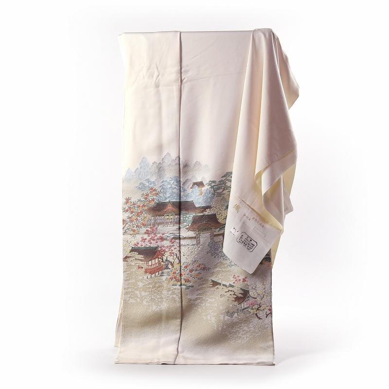 寿光織 最高峰縫取刺繍 訪問着/留袖 北野天満宮 生成り色 手縫いお仕立て付き 染め替え付き 【裄67cm位まで】