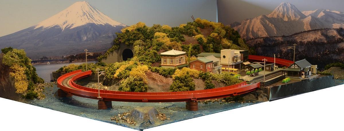 「送料込み」鉄道模型ジオラマレイアウトNゲージ用 単線[90cm×60cm]海岸沿いの町●注文製作●90x60-16