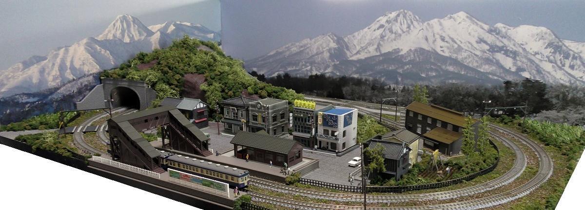 「送料込み」鉄道模型ジオラマレイアウトNゲージ用複線[90cm×60cm]電車庫のある町●注文製作●90x60-22