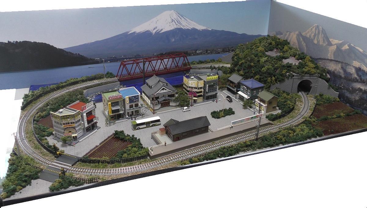 「送料込」鉄道模型ジオラマレイアウトNゲージ用 単線[90cm×60cm]トラス橋のある町●注文製作●90x60-7