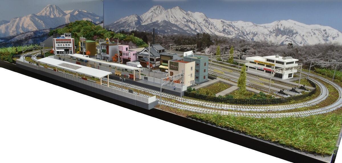 「送料込み」鉄道模型ジオラマレイアウトNゲージ用 複線[120cm×60cm]3線ヤードのある町●注文製作●120x60-26