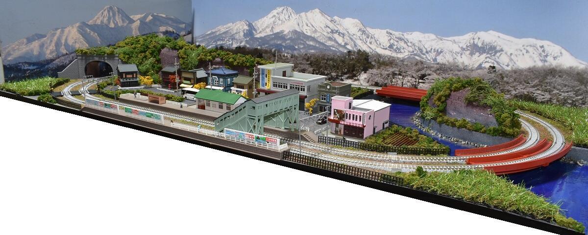 「見つけたらラッキー」「送料込み」鉄道模型ジオラマレイアウトNゲージ用 複線[120cm×60cm]川がある町●注文製作●120x60-5