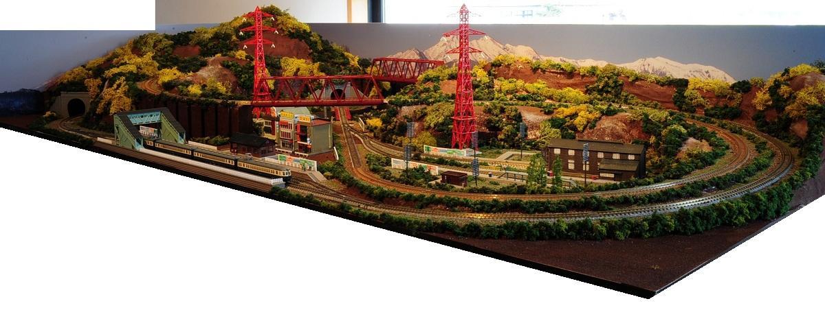 鉄道模型ジオラマレイアウトNゲージ用 単線[183cm×92cm]田舎の風景(赤い鉄塔)●注文製作●183x92-2