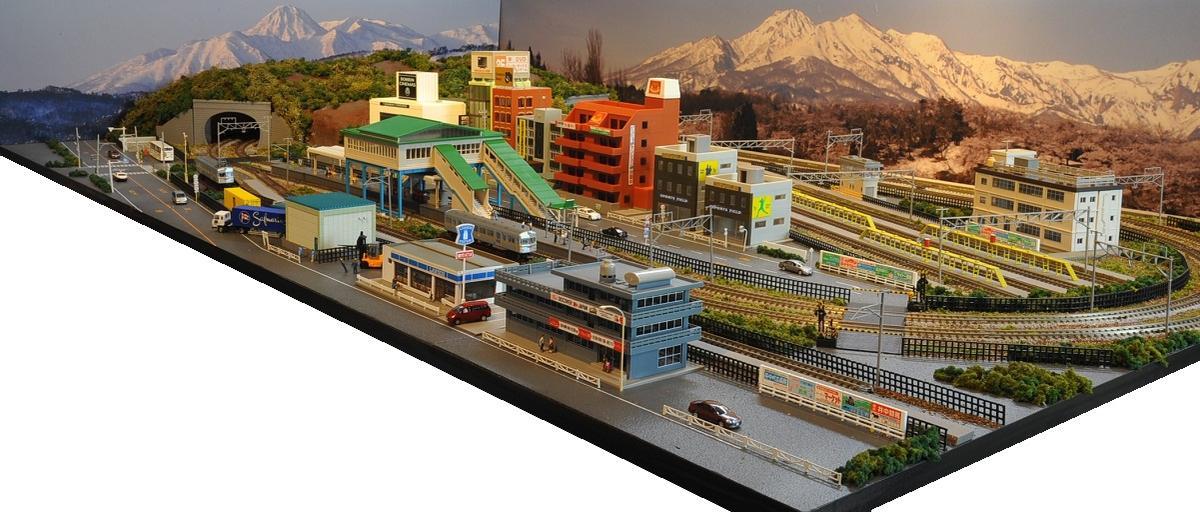 「送料込み」鉄道模型ジオラマレイアウトNゲージ用 複線[150cm×90cm]現代風景と4線ヤード●注文製作●150x90-2