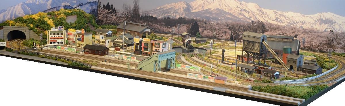 「送料込み」鉄道模型ジオラマレイアウトNゲージ用 複線[150cm×90cm]蒸気機関車の走る町(転車台)●注文製作●150x90-1