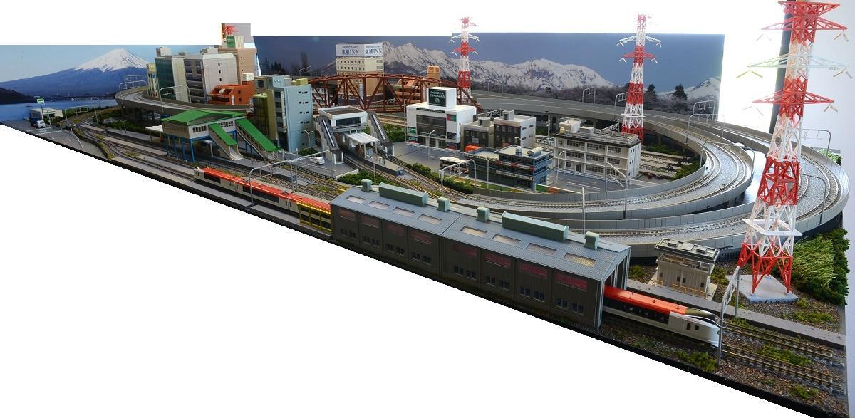 鉄道模型ジオラマレイアウトNゲージ用 複線渡り線[210cm×90cm]現代の風景 5線ヤ-ド(奥3線、手前2線)●注文製作●210x90-1