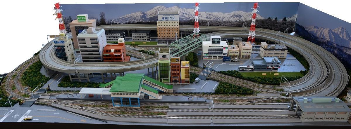 鉄道模型ジオラマレイアウトNゲージ用 複線渡線[183cm×92cm]現代風景8の字●注文製作●183x92-1