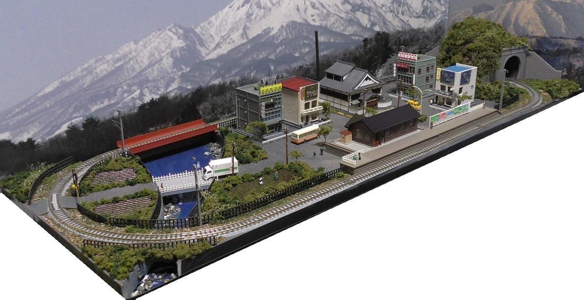 「送料込み」鉄道模型ジオラマレイアウトNゲージ用 単線[90cm×30cm]昭和の街●注文製作●90x30-7