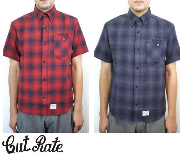 CUT RATE カットレイト S/S CHECK BD WORK SHIRT 半袖 ワークシャツ