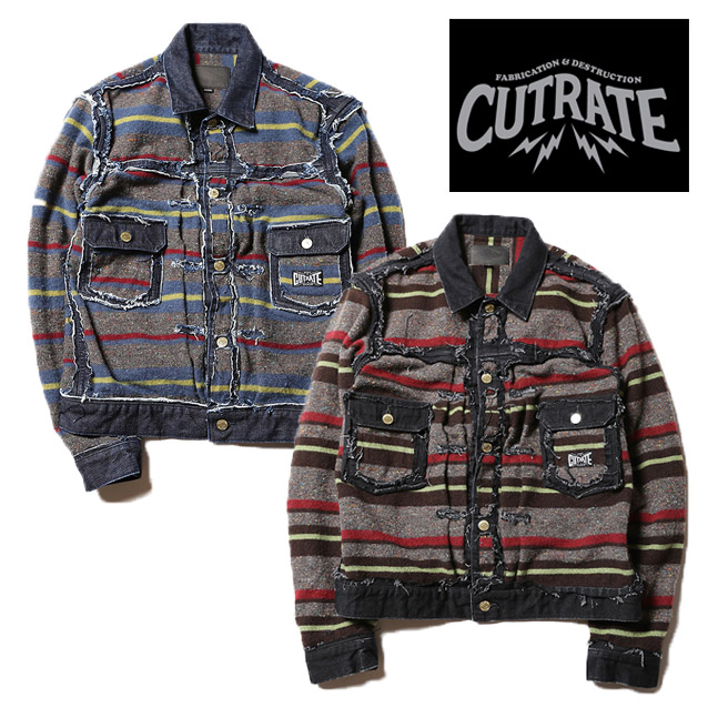 CUT RATE カットレイト WOOL BORDER BLANKET JACKET ジャケット