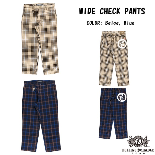 ROLLING CRADLE WIDE CHECK PANTS