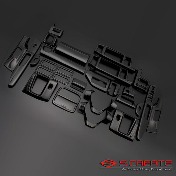 ステップワゴン RK系 3D インテリアパネル 28ピース/28P[ピアノブラック] インテリアウッドパネル/内装/インパネ