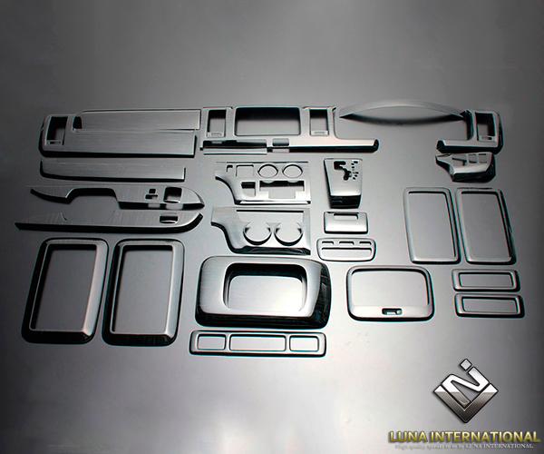 (ルナインターナショナル) ハイエース 200系 1~3型(標準) 黒木目 (25ピース[25P]) 3D立体インテリアパネル / パネル 内装 インパネ