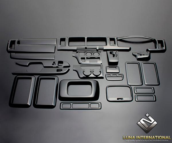 (ルナインターナショナル) レジアスエース 200系 1~3型(ワイド) ピアノブラック (25ピース[25P]) 3D立体インテリアパネル / パネル 内装 インパネ