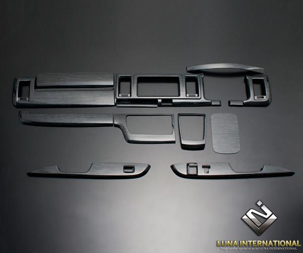 (ルナインターナショナル) レジアスエース 200系 4型(標準) 黒木目 (14ピース[14P]) トップグレード 3D立体インテリアパネル / インパネ