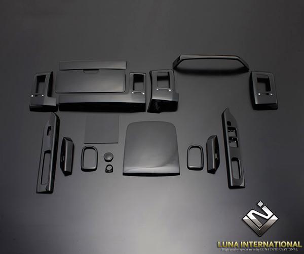 (ルナインターナショナル) デリカ D:5 前期・後期 ピアノブラック (17ピース[17P]) 3D立体インテリアパネル / パネル 内装 インパネ