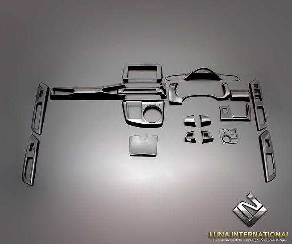 (ルナインターナショナル) ウィッシュ ZGE20系 ピアノブラック (19ピース[19P]) 3D立体インテリアパネル / パネル 内装 インパネ