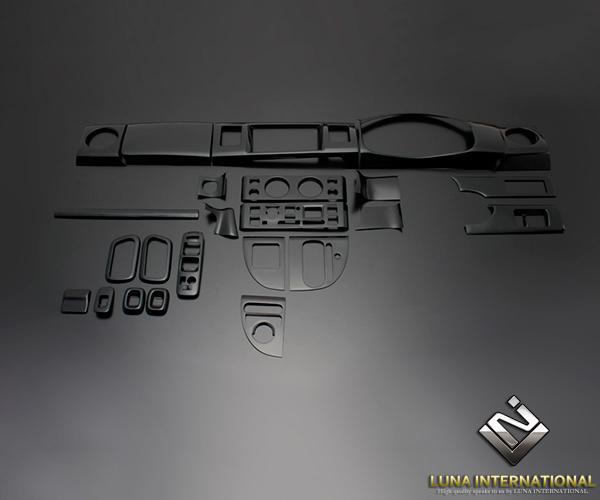 (ルナインターナショナル) エブリィ ワゴン DA64W/V ピアノブラック (24ピース[24P]) 3D立体インテリアパネル / パネル 内装 インパネ