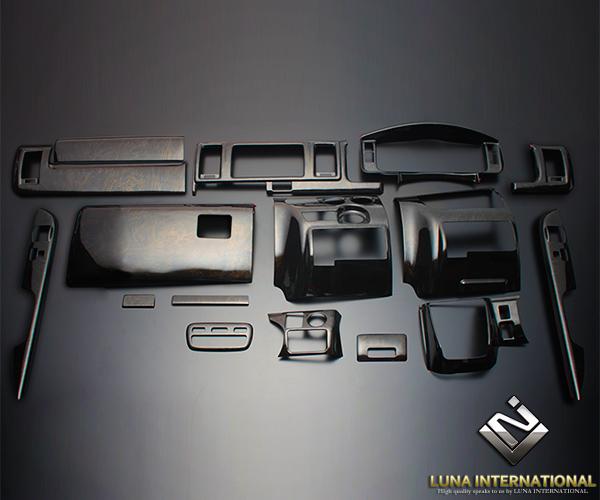 (ルナインターナショナル) レジアスエース 200系 4型(標準) 黒木目ゴールド (16ピース[16P]) 3D立体インテリアパネル / パネル 内装 インパネ