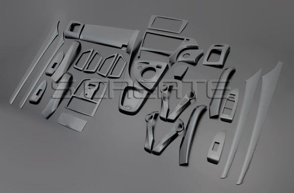 プリウス(ZVW30) 3Dパネル 33ピース/33P (カーボン調)インテリアパネル/ウッドパネル/インパネ