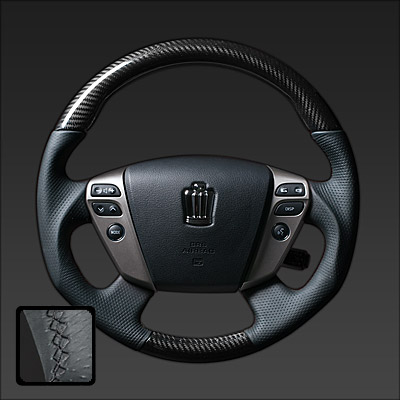 REAL (real) Steering Crown hybrid (GWS204) carbon & book leather leather (Platinum black carbon / black euro)