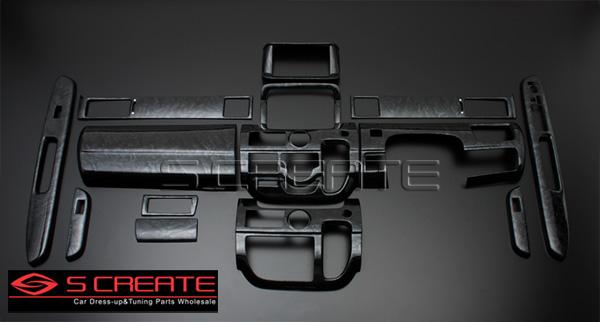 3D立体インテリア内装ウッドパネル ステップワゴン(RG1/RG2/RG3/RG4) 黒木目調 14ピース/14P / インパネ 内装