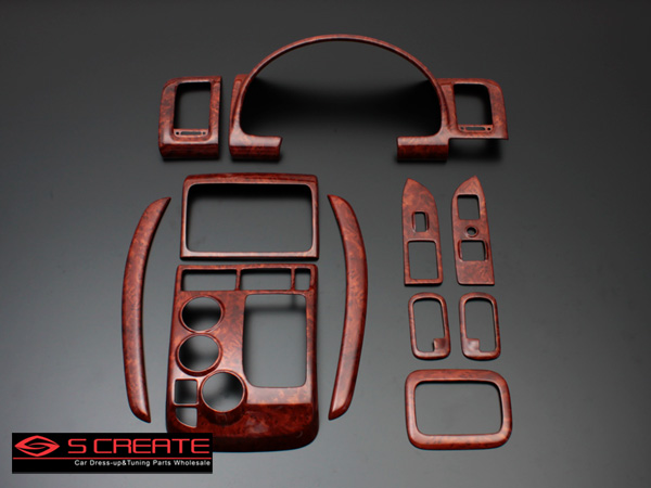 3D立体インテリア内装ウッドパネル モビリオスパイク(GK1/GK2) 茶木目調 11ピース/11P / インパネ 内装