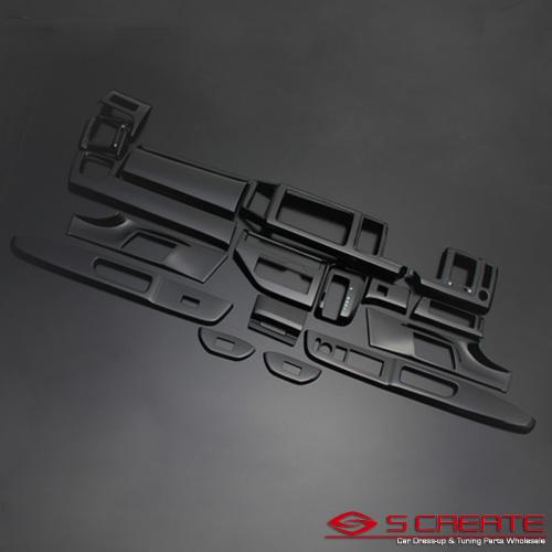 3D立体インテリア内装ウッドパネル ステップワゴン(RK1/RK2/RK5/RK6) ピアノブラック 17ピース/17P / インパネ 内装
