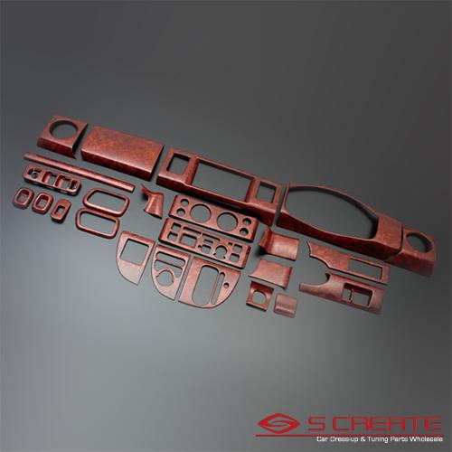 3D立体インテリア内装ウッドパネル エブリィワゴン(エブリー)(DA64W) 茶木目調 24ピース/24P / インパネ 内装
