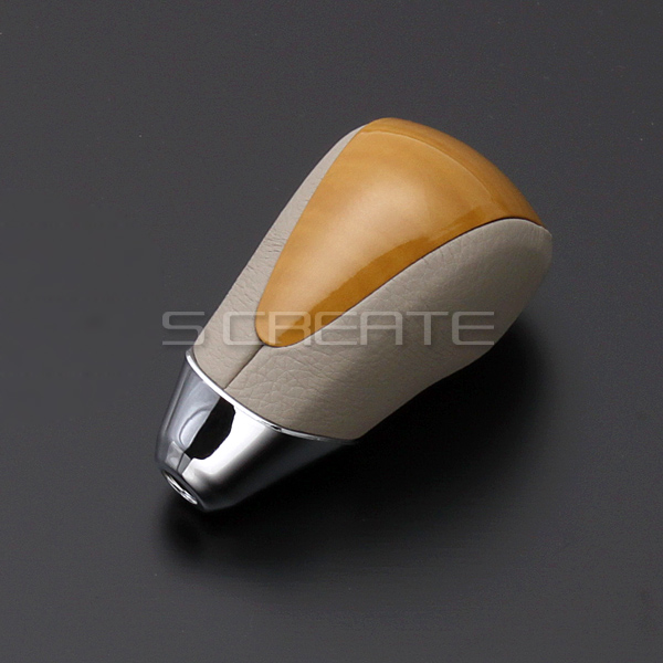 ♦ super glossy wood panelling & high quality leather used! Shift knob Toyota Estima ACR/GSR50 of A type (standard) yellow wood / interior color: grey beige SKT11A