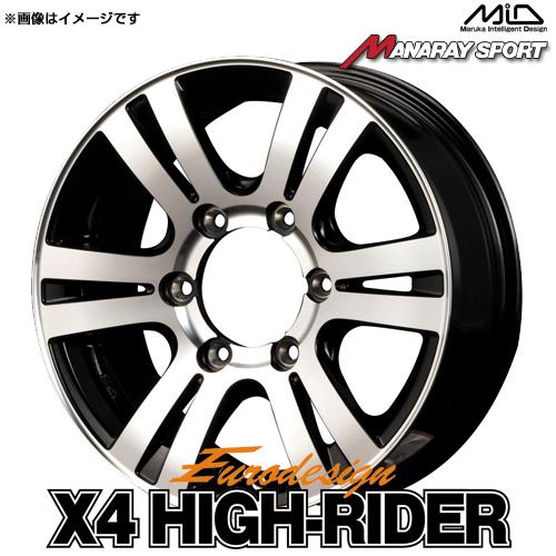 ユーロデザイン クロスフォーハイライダー アルミホイール(1本) 17x7.0 +36 139.7 6穴(ブラックポリッシュ) / 17インチ Eurodesign X4 High Rider BLACK