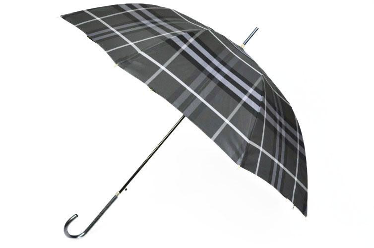 バーバリー 雨傘 長傘 レディース 送料無料 BURBERRY 婦人 チェック ケース 付き 黒 × グレー   女性 ブランド x1x 【あす楽】
