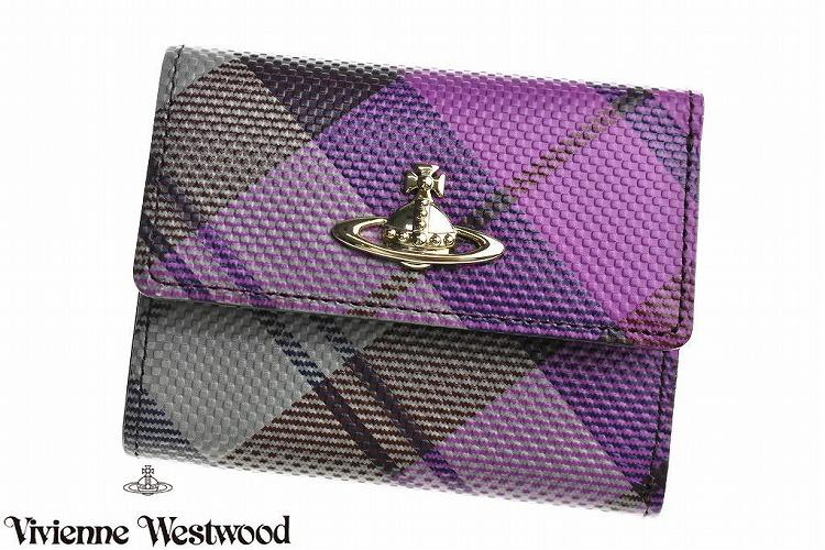 ヴィヴィアン ウエストウッド 財布 三つ折り財布 レディース ブランド Vivienne Westwood フラップ 箱無 プリンテッド タータン コンパクト パープル | 女性 婦人 本革 3318W932 x1x 【あす楽】