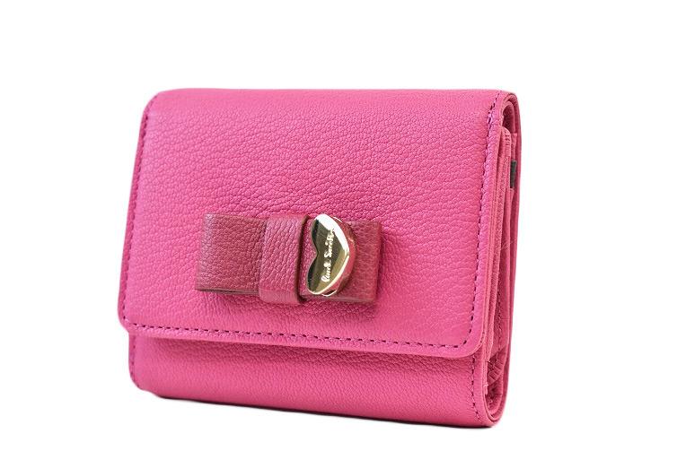 ポールスミス 財布 三つ折り財布 レディース Paul Smith コントラストリボン2 フラップ ゴートスキン ピンク | 女性 本革 ギフト PWU902【あす楽】
