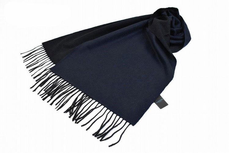 ランバン パリス マフラー レディース ブランド LANVIN PARIS カシミヤ 100% イタリア製 バイカラー ネイビー × ブラック | 女性 婦人 カシミア 【あす楽】