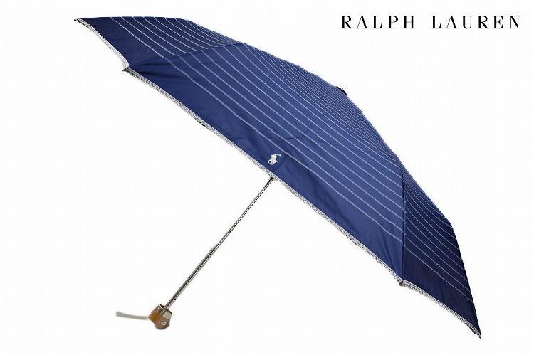 ポロ ラルフローレン 日傘 折りたたみ 傘 レディース ブランド POLO Ralph Lauren ボーダー ピコレース 刺繍 ネイビー 紺 × ホワイト 白 50cm 女性 婦人 UV 晴雨兼用 遮光 遮熱 楽折 【あす楽】