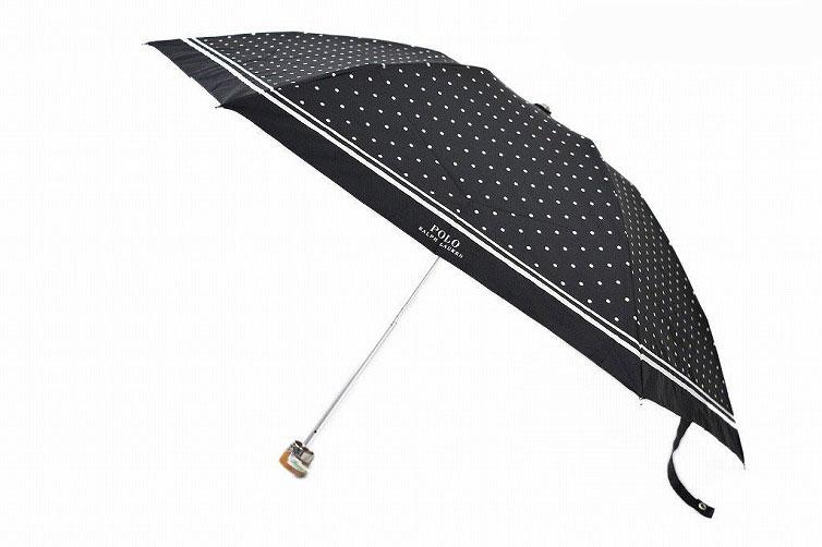 ポロ ラルフローレン 日傘 折りたたみ 傘 レディース ブランド POLO Ralph Lauren ドット ロゴ 黒 白 ブラック × ホワイト 50cm 女性 婦人 UV 晴雨兼用 遮光 遮熱